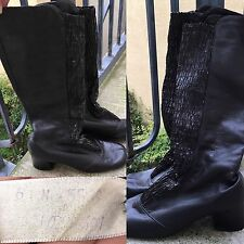 VTG Go Go Boots Black Leather Sz 6 N