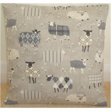 "16"" Cushion Cover Baa Tartan Sheep Grey Taupe Beige and Cream Nursery Playroom"