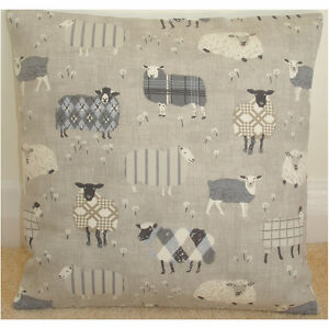 "16"" Cushion Cover Sheep Tartan Sheep Grey Taupe Beige and Cream Baa Fabric 16x16"
