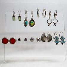 Vintage Lot 9 Pair Sterling Silver Earrings for Pierced Ears 28.4 Grams
