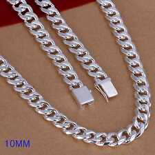 Fashion 925Sterling Solid Silver Men Jewelry 10MM Chain Necklace 24inch N011