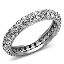 1225  SIMULATED DIAMOND STAINLESS STEEL RING FULL ETERNITY WEDDING BAND PAVE