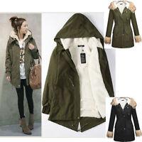 UK Womens Hooded Parka Fleece Tops Ladies Winter Warm Long Jacket Coat Size 6-16