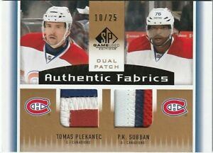 2013-14 SP Game Used Authentic Fabrics Dual Patch #AF2-PS PLEKANEC SUBBAN 10/25