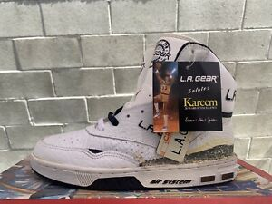1990's VINTAGE LA GEAR KAREEM ABDUL JABBAR Sneakers Sz. 5.5 Lakers Rare Sky Hook