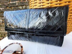 Vtg Original 80s Black Genuine Eel Skin Leather Clutch Bag. Stunning Piece...