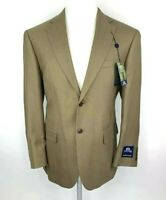 New Stafford Mens 40S Wool Bamboo Blazer Sport Coat 2 Button Khaki Herringbone