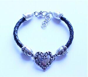 Desginer Brighton Silver Plate & Black Leather Filigree Heart Bracelet