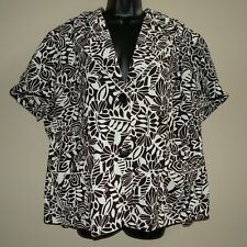 NWT Perceptions Brown White Floral Short Sleeve Jacket sz 22W