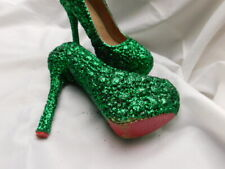 "ONE-OF-A-KIND art GREEN GLITTER GLITZ high PLATFORM 6"" HEELS shoes 8 RED outsole"