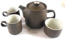 Textured Short Spout Pottery Teapot 2 Cups Sugar Bowl Vintage Heavy No Markings