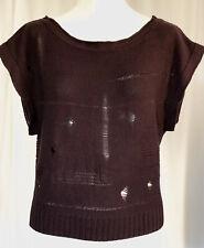 Charlotte Russe Medium Short Sleeve Sweater Top Purple Maroon Distressed Knit