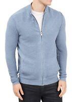Alfani Mens Sweater Blue Small S Ottoman Ribbed Knit Full-Zip Mock-Neck $75 138