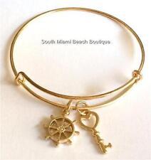 Gold Plated Ships Wheel Helm Key Charm Bracelet Nautical Boat Ship Sailing USA