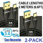LOT 2M USB C CABLE TYPE C 3.0 SUPERSPEED 5GB CORD 2 Meter 6.6FT GOLD for GALAXY