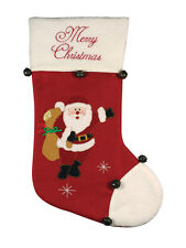 Christmas Stocking with Bells - Merry Christmas Santa design