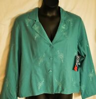 women's PHOOL teal emboidered jacket size X large button front gorgeous color