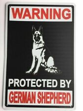 Beware Of Dog Sign Warning Protected By German Shepherd 12 x 8 Inch Metal Decor