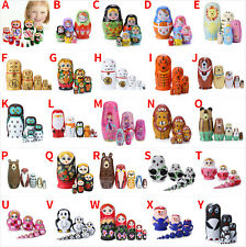 5/8/10Pcs Cartoon Matryoshka Russian Nesting Wooden Dolls Toys Stacking Babushka