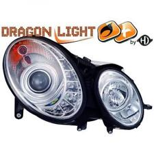 LHD Projector Headlights Pair LED Dragon Clear Chrome D2S H7 For Mercedes W211