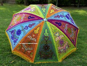 Belle Broderie Indien Jardin Parapluie Grand Parasols Coton Ethnic Chemin 183cm
