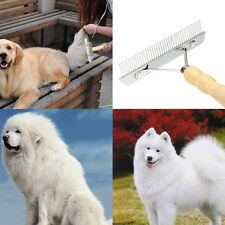 Dog Grooming Rake Cat Pet Comb Brush Tool Wooden Handle Hair Fur Shedding Care