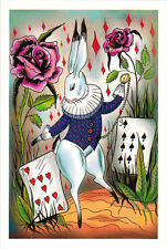 WHITE RABBIT WITH POCKET WATCH Modern Russian card by Polina Erofeeva