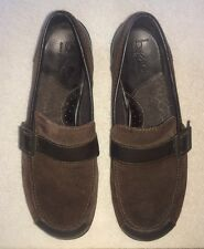 Born Concept Brown Suede Leather Women's Loafers Size US 8.5 Eur 40 Buckle Strap
