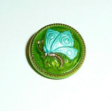 Czech Glass Butterfly Button Green Apple w Tiffany Green & Gold Accents 18mm