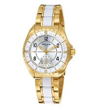 POLICE NAVY III Gold/White Ladies Chrono Watch with Date 12207MSG/04M £175 NEW