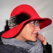 Damenhut in rot elegant Wollhut mit Pelzapplikation Damenhüte Anlasshüte Wollhut