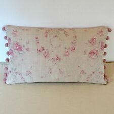 """NEW Kate Forman Amelia Pink Linen Fabric 20""""x12"""" Pom Pom or Piped Cushion Cover"""
