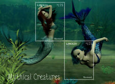 Liberia - 2014 - Mythical Creatures - Mermaids- Souvenir Sheet of 2 Stamps - Mnh