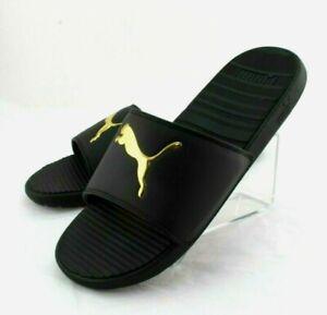 New PUMA Cool Cat V Size 11 Black with Gold Logo Men's Slide Sandals