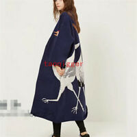 New Women's Long Double Knitted Woolen Loose Fit Sweater Cardigan Retro outwear