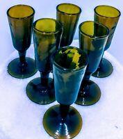 """Set of 6 Vintage Cordial Liqueur  Stemmed Shot  Amber Glasses 3 1/4"""" x 1"""""""