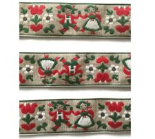 BTY Austrian Folkloric Embroidered Border Craft Trim Fabric Ribbon Sewing 1.75""