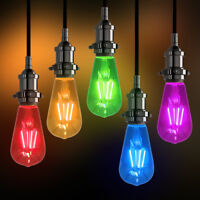 RED BLUE GREEN AMBER PURPLE Vintage LED Edison Style Light Bulbs Coloured ST58