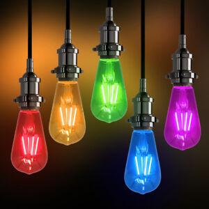 RED BLUE GREEN AMBER PURPLE Vintage LED Edison Style Light Bulbs Coloured ST58