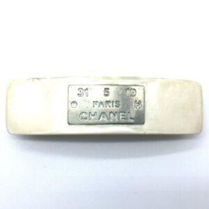 CHANEL CC Logo Plate Hair Accessory Hair Clip Barrette White x Silver