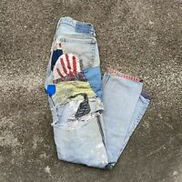VTG 1980s Patched Distressed Hippy Levi Jeans See Measurements