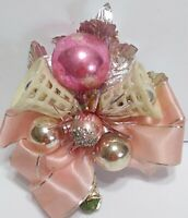 Vtg Christmas Corsage PINK Mercury Glass Silver Foil Bell ANGEL package tie