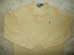 RALPH LAUREN LONG SLEEVE LIGHT BROWN POLO SHIRT MENS LARGE EXCELLENT CONDITION