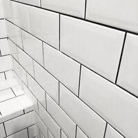 Metro Brick Effect White Ceramic Wall Tiles - SAMPLE