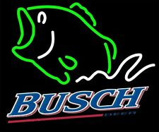 "New Busch Beer Bass Fish Beer Neon Light Sign 20""x16"""