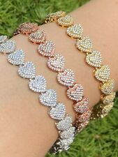 SOLID Real 925 Silver Ladies Iced Heart Link Bracelet Gold Rose Finish Diamond