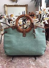 Fossil Avignon Woven Green Straw Leather Ring Handle Satchel Handbag Purse EUC