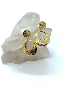 14KT Yellow Gold Dangle Hoop Earrings