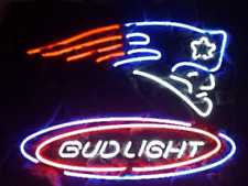 "New England Patriots Bud Light Neon Light Sign 24""x20"" Artwork Beer Lamp Poster"