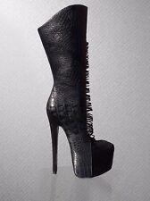 Zigi Ny London Trash Crucify Wedge Strappy High Heel Leather Boots 6 US